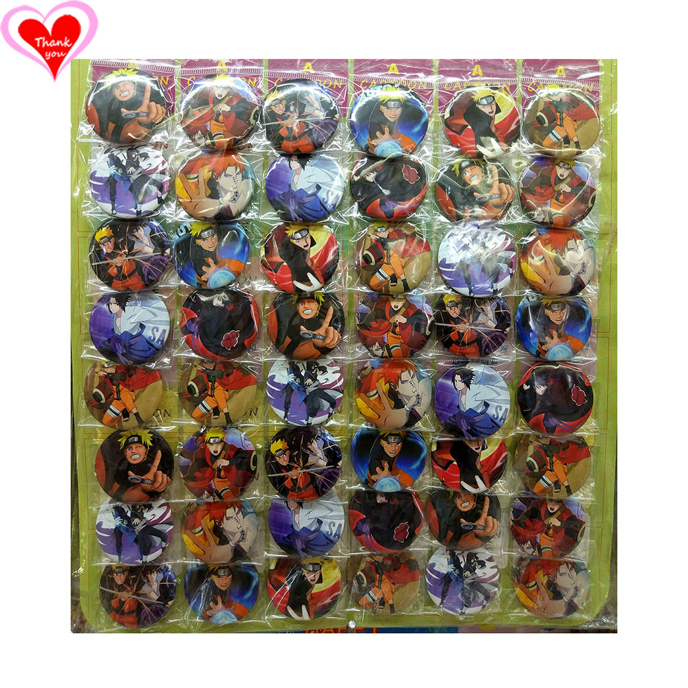 Kärlek tackar Naruto 45MM 16/24/32/40/48 st. Mycket PIN-BACK BADGE KNAPP BROSCH för BAG GIFT TOY CLOTH Cartoon & anime