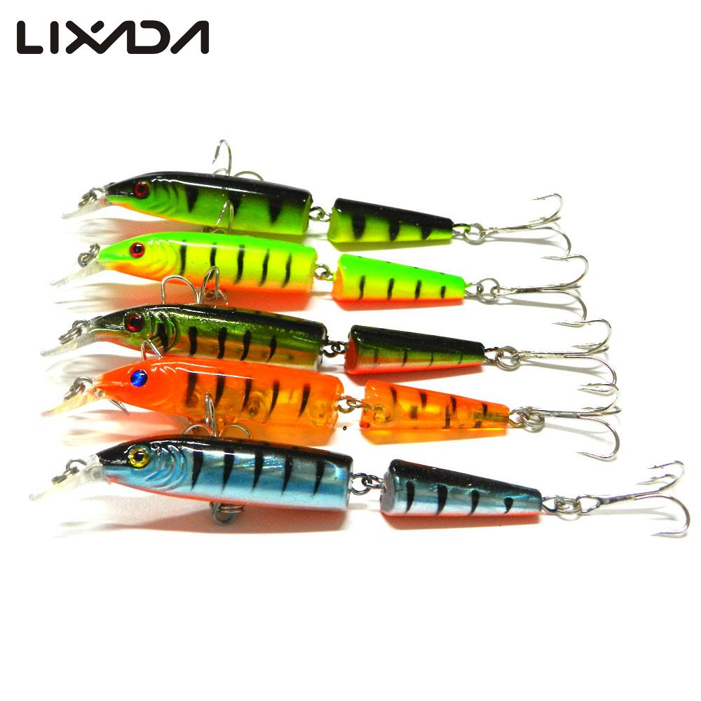 5Pcs Fishing Lure Kit 10.5cm/9.6g Hard Baits 3D eyes Swimming Artificial Fishing Baits with Hook Jointed Fishing Tackle set