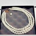 Tres Capas de Perlas Populares Fino Suéter Collares Para Las Mujeres de Nueva Moda Simulado de Perlas Largo Collar de Cadena de Jewerly PN303