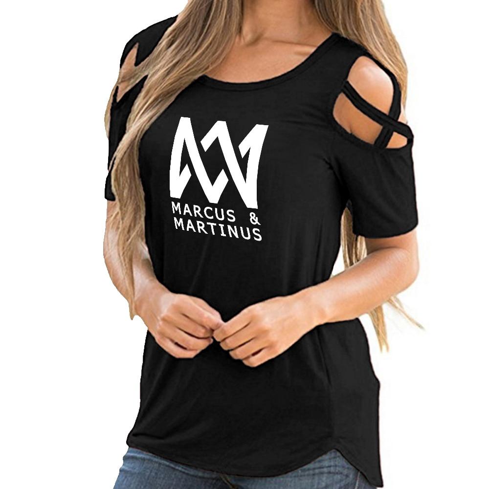 Marcus & Martinus Off Shoulder T-shirts Women Fashion Summer Short Sleeve Tshirts 2019 Hot Sale Casual Streetwear Clothes