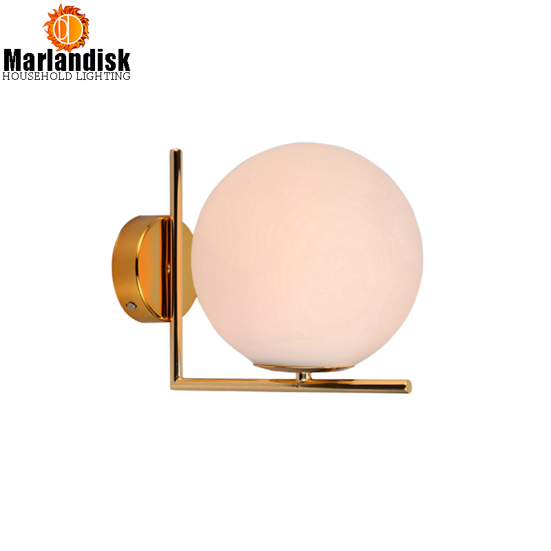 Simple White Glass Ball Led Post-Modern Wall Lamp Lustre Gold Metal Bedroom Led Wall Light Led Wall Lighting For Living Room modern lustre chrome metal led wall lights creative wifi model crystal bedroom led wall lamp corridor led lighting light fixture