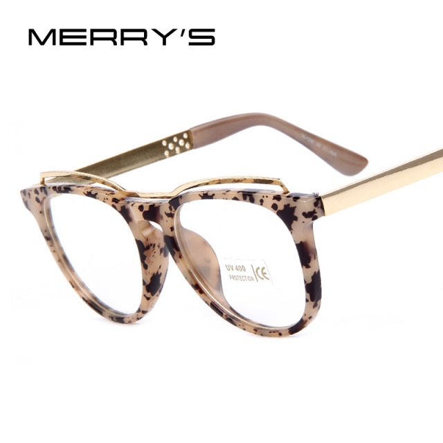 5a3a0fb10b5 MERRY S Fashion Women Cat s Eye Glasses Frame Brand Designer Frames Print  Frame Women Eyeglasses Frames High