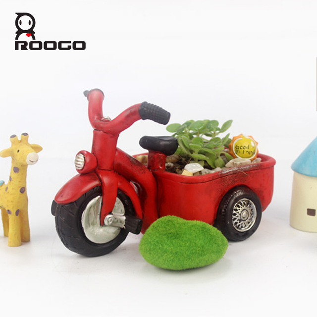 Roogo Creative Retro Resin Red Tricycle Planter Flowerpot Garden Pots Succulent Plants Bonsai Desk Three Wheeler