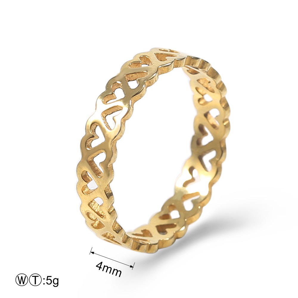 Lovers' Ring Wedding Bands Gold/Sliver Color Love Heart Hollow Hoop Stainless Steel Jewellery For Lovers' Ring