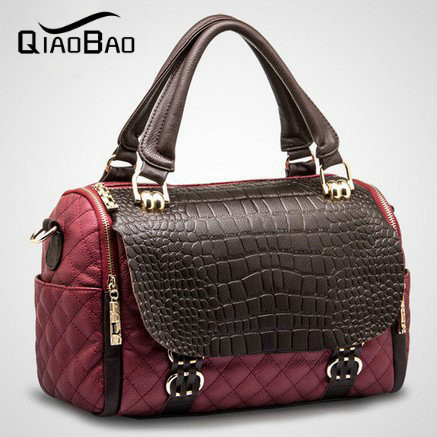QIAO BAO 2017 Women's Genuine Leather Bags Female Shoulder Bag Dimond Plaid Crocodile Pattern Cowhide Bags