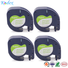 Kodex 4PACK 12mm compatible Dymo paper LT 91200 label tape Black on White for Dymo LetraTag printer ribbon