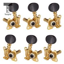 6pcs 3 Right Left Guitar Heads String Tuning Pegs Open Machine Oval Button Acoustic Folk Parts Peg Tuners
