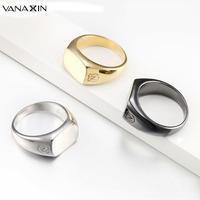 VANAXIN Ring Men Sterling Silver 925 AAA CZ Stone Fashion Punk Style Boy Rings Anel Masculino Black White Yellow Sun Flower Ring