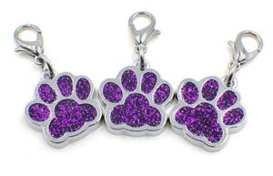 Image 4 - 50pcs/lot Colors Bling bear dog paw print with lobster clasp diy hang pendant charms fit for keychains jewelrys