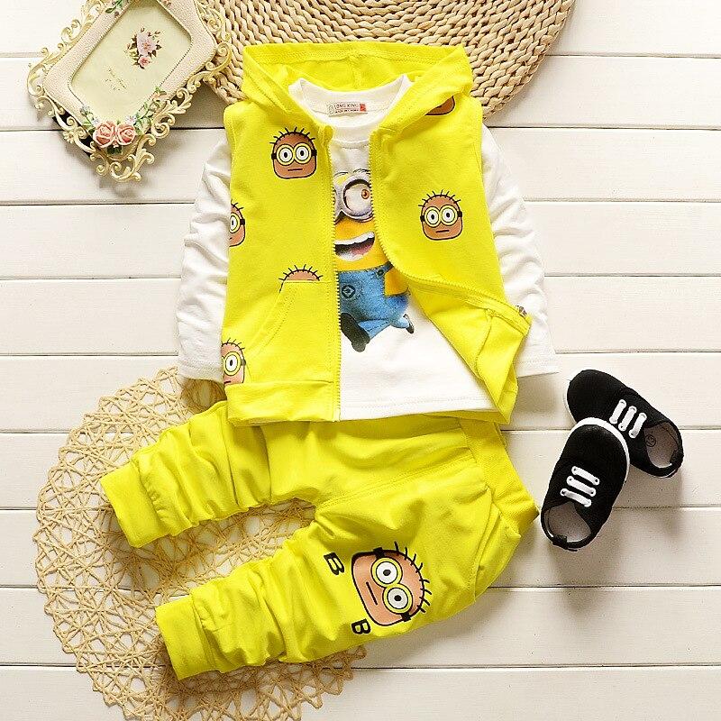 Girls Clothing Set Winter Baby Cartoon Minions Jacket T Shirt