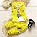 Inverno Conjunto de Roupas meninas Bebê Dos Desenhos Animados Asseclas Jaqueta + Camisa de T + calças 3 Pcs Set Outfit Meninos Esporte Terno Roupa Infantil conjunto