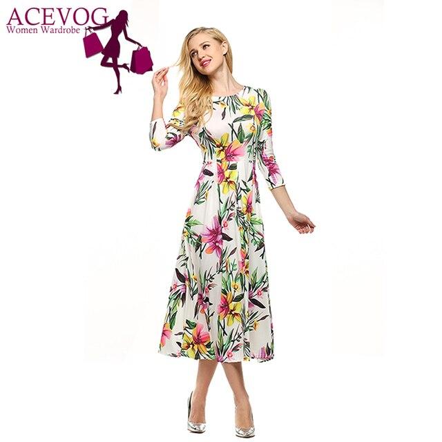 ACEVOG Марка S-XXL Женщины Платье Ретро Винтаж Рокабилли Цветочный Принт Качели Летние Платья ElegantTunic Vestidos
