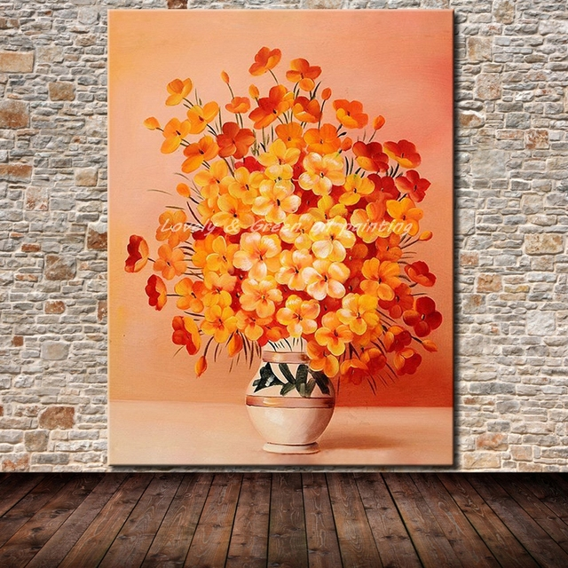Frameless Painting Hand Painted Flower Oil Painting On Canvas Hang Made Modern Abstract Flowers Picture Wall Art For Home Decor