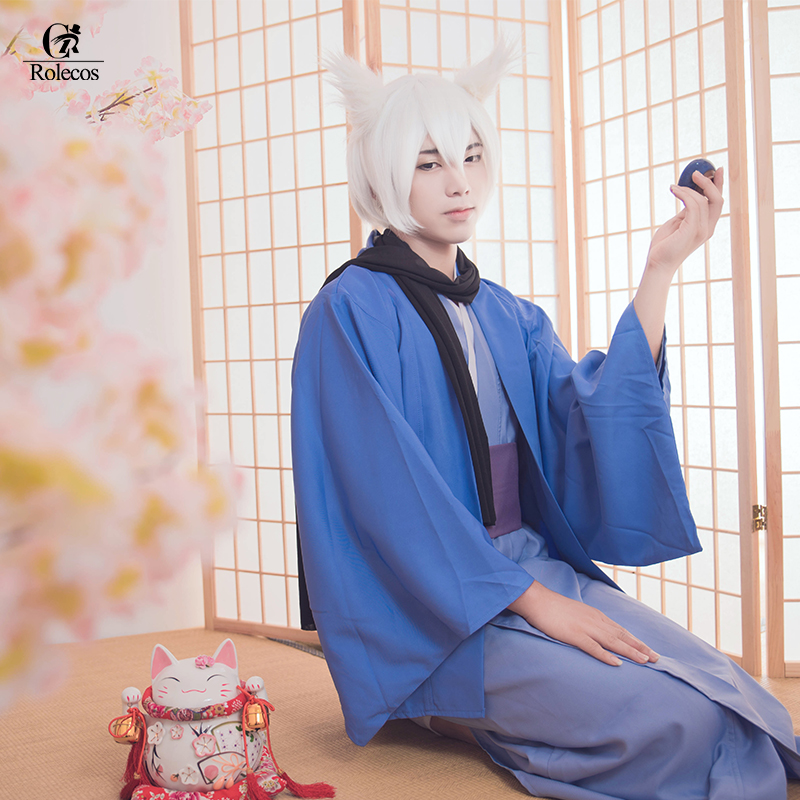 Rolecos Kamisama Love Kamisama Kiss Tomoe Cosplay Costume Men Blue Bathrobe Kimono Tomoe Kimono