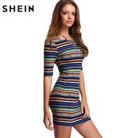 SheIn Womens New Arrival Summer Dresses 2016 Sexy Club Multicolor Vintage Print Round Neck Half Sleeve