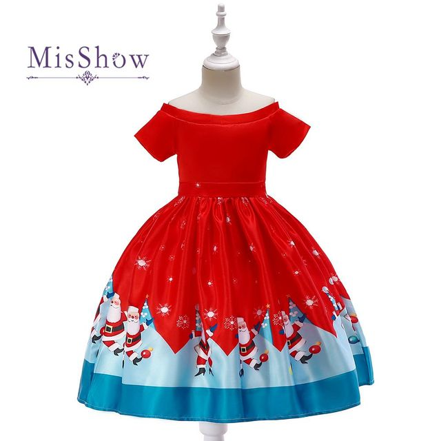 6027239ec6 Cartoon Print Girls Christmas Dresses 2019 Lovely Short Sleeve Kids Girls  Xmas Dresses Girls Winter Dress Girls Costumes