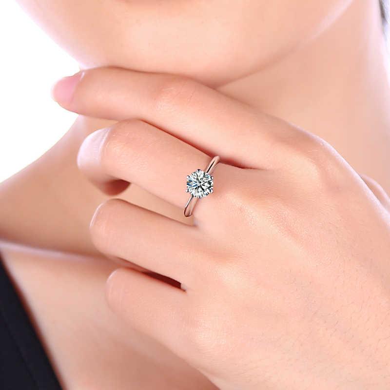 2016 ขายร้อนคลาสสิกแหวนหรูหรา 1 ct Love แหวนโลหะผสมสังกะสี 6 กรงเล็บรอบ Cz แหวนแฟชั่นผู้หญิง