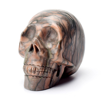 4'' Crystal Skull Statue Natural Network Stone Carved Healing Skull Sculpture as Christmas Gift Feng Shui Figurine Home Decor