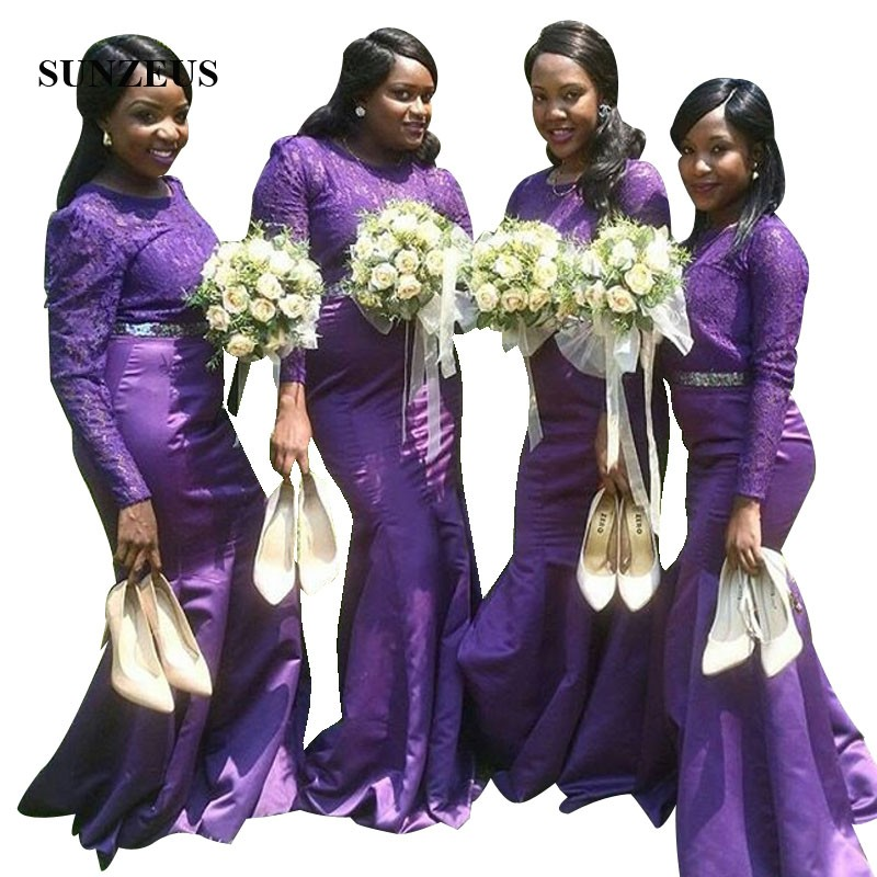 Lace Long Sleeves Purple   Bridesmaids     Dresses   African Women Long Mermaid Formal   Dress   Elegant Satin Wedding Party Gowns