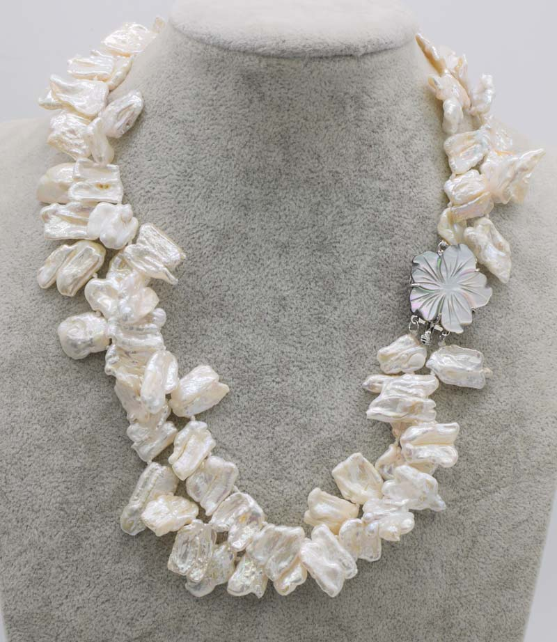 wholesale 2rows freshwater reborn pearl white biwa baroque neklace 18inch FPPJ
