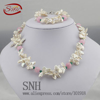 crystal jewelry set sterling silver jewelry 100% 925 formal jewelry set natural freshwater pearl
