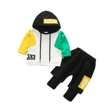 Spring and Autumn Kids Suit Boys Sports Hat, Trendy Kids'Pure Cotton Sanitary Clothing + Trousers Two-piece Suit   boys clothes стоимость