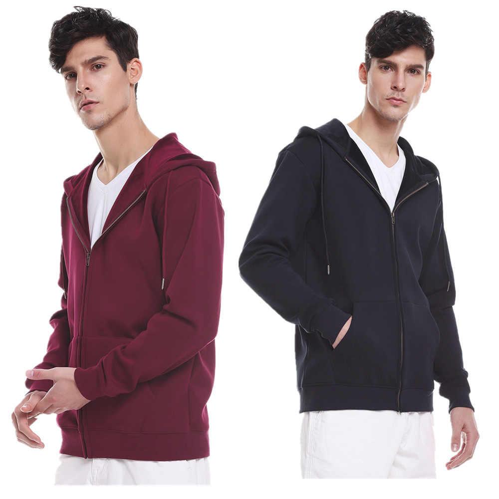 Zip Up Hoodies for Men Mens Zipper Cotton Hooded Sweatshirt Fleece Jacket