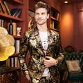 2015 nueva primavera otoño invierno masculina flannelet calidad traje patrón decorativo chaqueta personalidad cantante bailarina estrellas de rendimiento