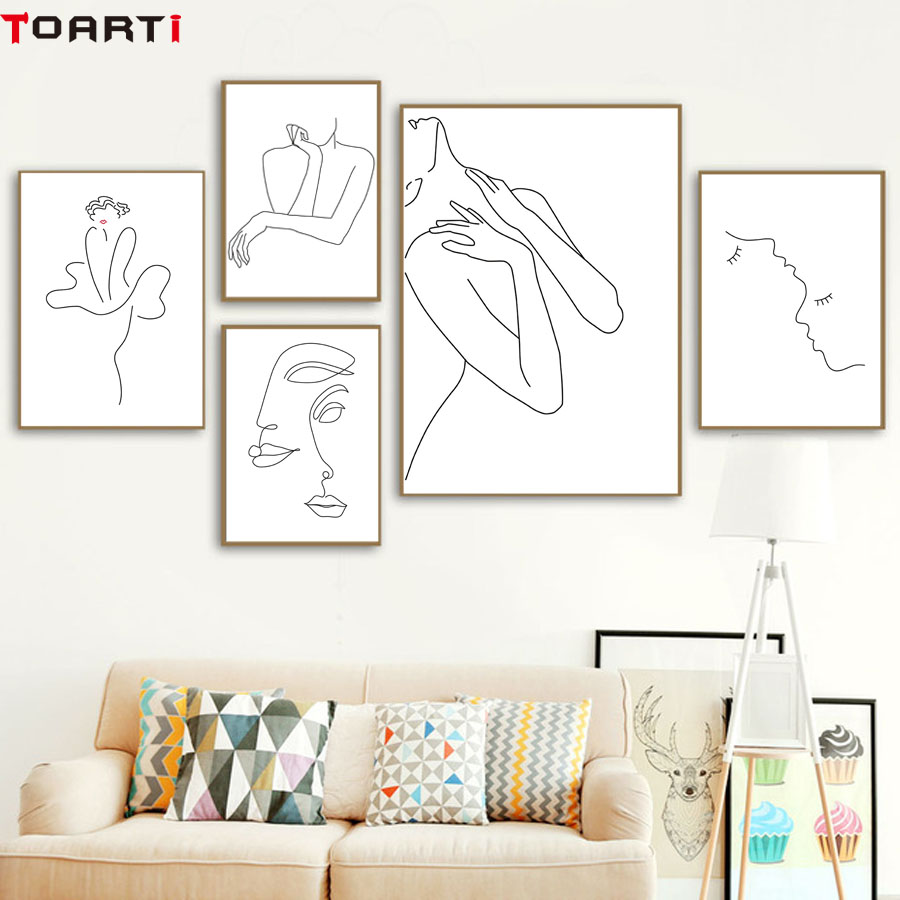 Sexy Women Body Nordic Poster&Print Line Drawing Modern Canvas Painting Wall Art Mural Modular Picture Girls Bedroom Home Decor