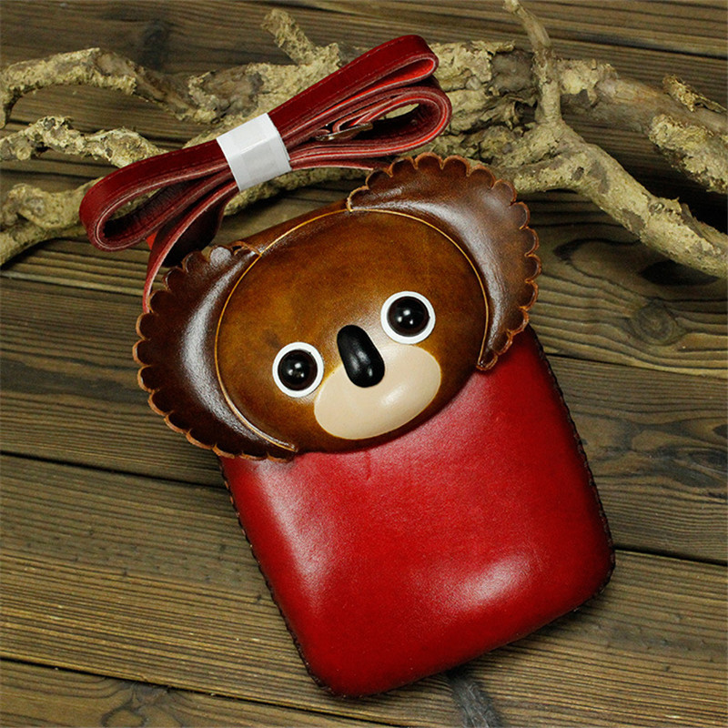 Handled Tanned Leather Bags Is A Swine and Monkey Creative Wallet Mobile Phone Bag Messenger Panda Cartoon Coin Purse Dropship
