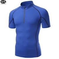 HongMiao 2018 New Fashion Men Compression Shirts Rashguard Fitness Short Sleeves Solid Color Men T Shirts