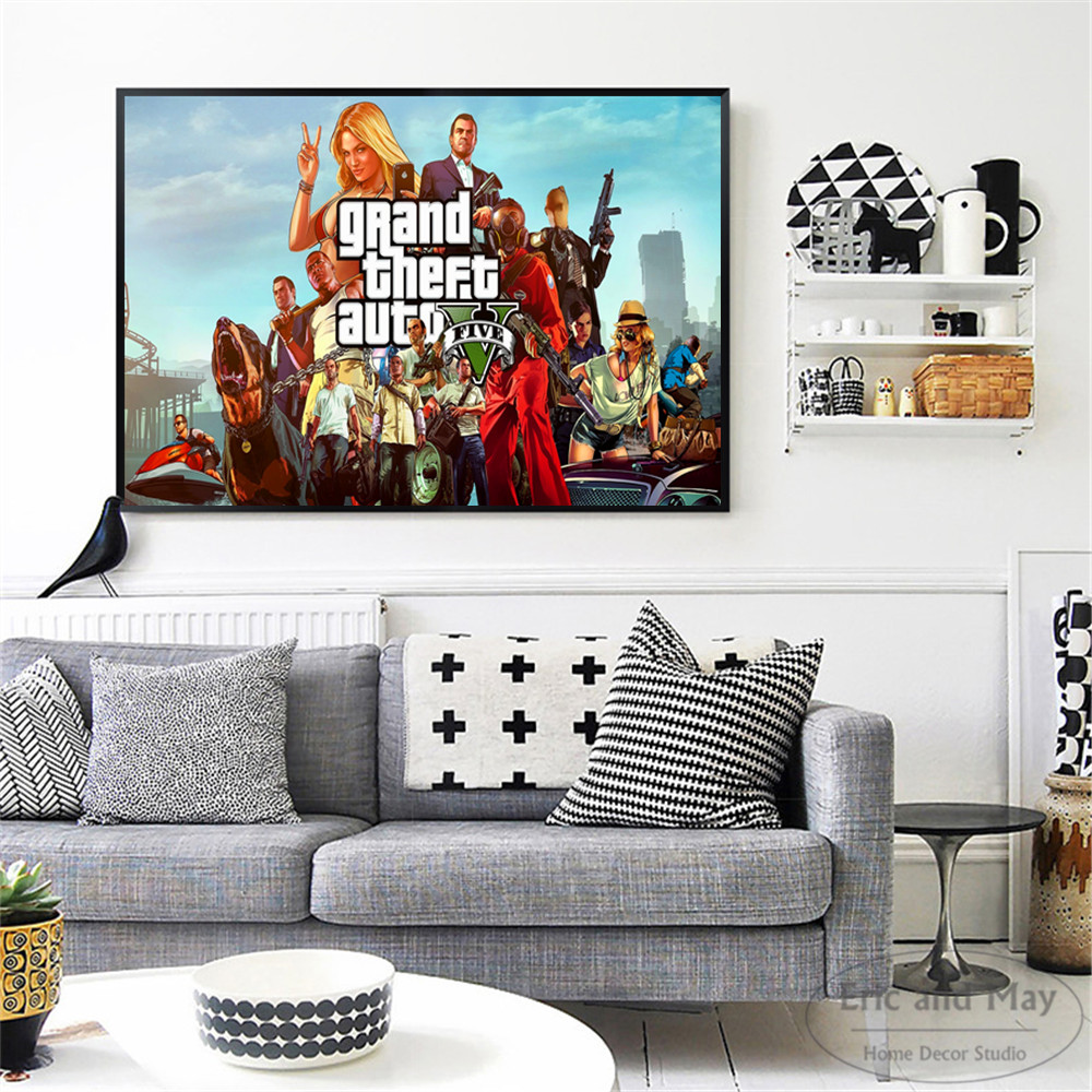 GTA 5 San Andreas Vice City Vintage Wall Art Canvas Painting Poster Prints Pictures For Bedroom Decoration Home Oil Paintings in Painting Calligraphy from Home Garden