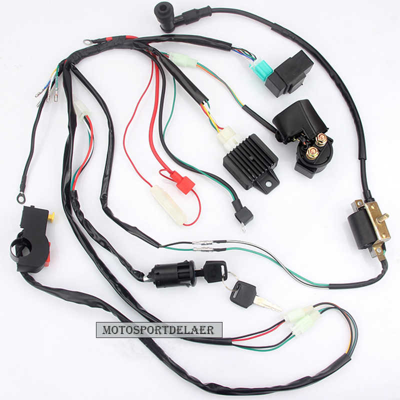 New Motorcycle CDI Wiring Harness Loom Ignition Solenoid Coil Rectifier for 50cc 110cc 125cc PIT Quad Dirt Bike ATV