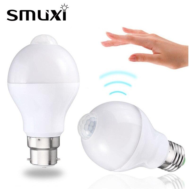 5 W/7 W/12 W Motion Sensor LED Lampe Ampoule E27 B22 Smart Auto PIR capteur LED Lumière Ampoule 220 V 110 V Chaud Pur Blanc Nuit LED éclairage