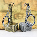 Retail 1pcs Thor's Hammer Keychains Thor Stainless Steel Hammer Metal Pendant Keychain Thor Cosplay Hammer