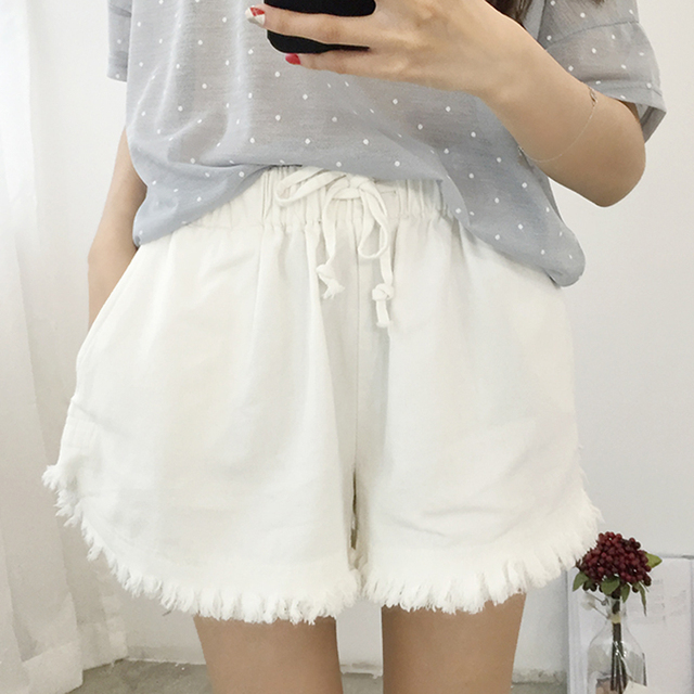 Women's Shorts Solid Color Wide Leg Short Pants Women Casual Loose Elastic High Waist Summer Shorts