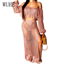 WUHE Two Piece Set Summer Beach Grid Sexy Off Shoulder Tassel Maxi Dress Fringed Knitting Crochet Hollow Out Long Party
