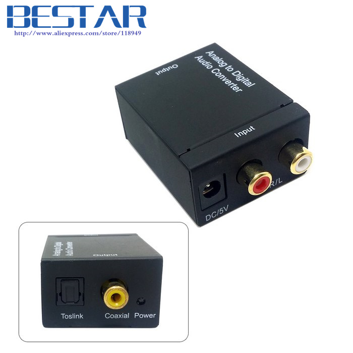 Analog L/R to Digital SPDIF Coaxial Coax RCA & Optical Toslink Audio Converter adapter best price digital optical fiber coax coaxial toslink to signal converter adapter audio transverter rca l r with usb cable