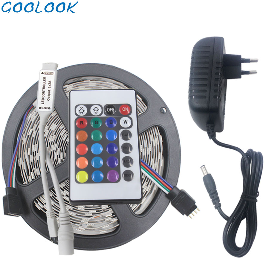 LED Strip Light 2835 SMD RGB LED Tape 3528 Led Flexible Strip 5M 10M Waterproof Lamp Ribbon+Remote Controller+DC12V Power Supply