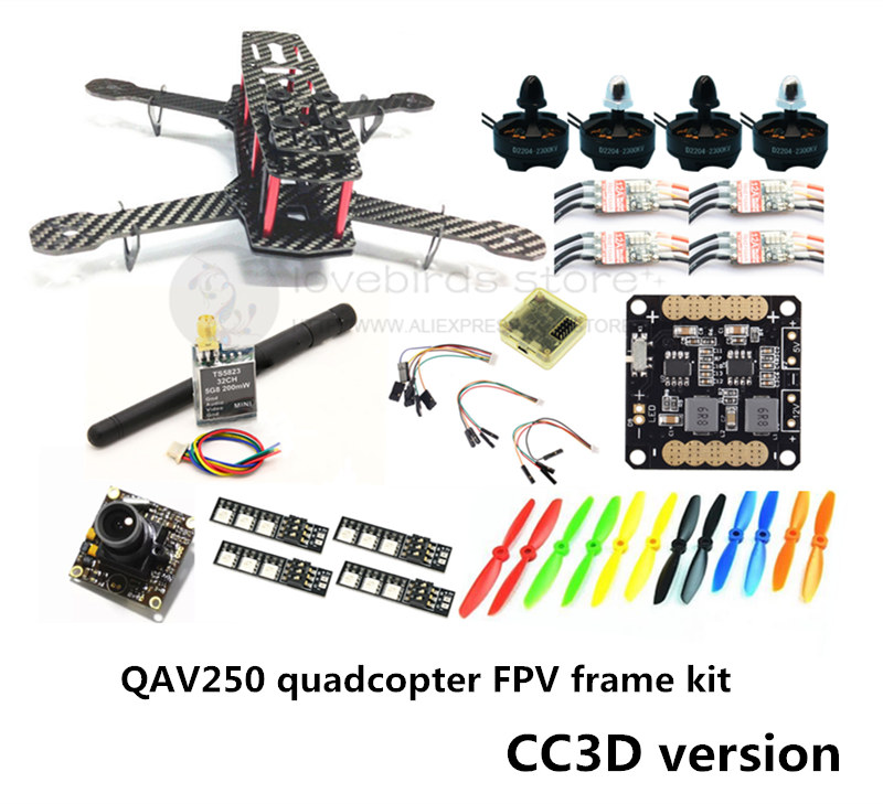 DIY mini drone QAV250 pure carbon FPV frame kit D2204 + Red Hawk BL20A ESC OPTO + NAZE32 / CC3D + 700TVL mini camera + TS5823 diy fpv alfa lsx5 230mm pure carbon frame kit for mini drone f3 acro dx2205 2300kv motor bl20a esc 5045 propeller
