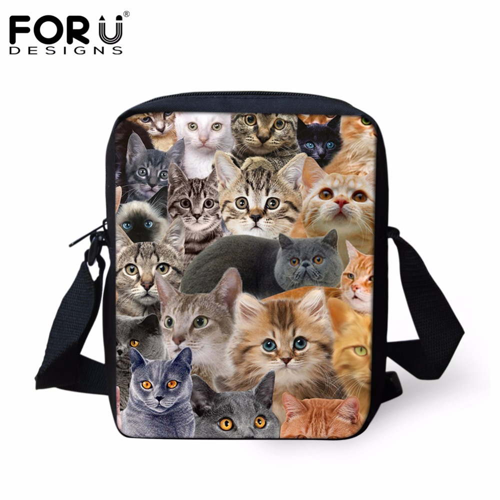 FORUDESIGNS Cute Cat Dog Prints Women Bag Handbags Woman Casual Small Girls School Handbag Shoulder Bags Crossbody Bags Bolsas forudesigns black cat bags for women messenger bag 2018 girls handbag cheap canvas shoulder bags summer beach casual tote bags