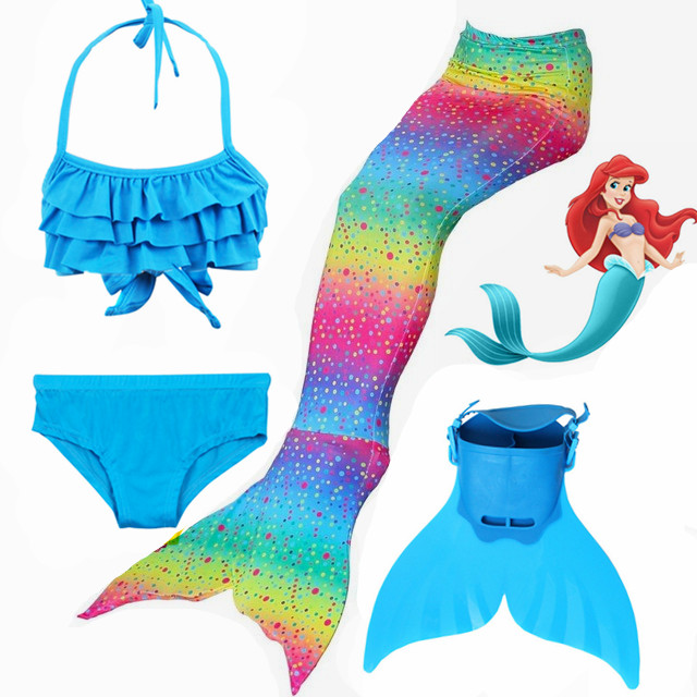 HOT!2018 Rainbow Styles Mermaid Tails With Fins Monofin Kids Girls Swimming Tails Flipper Swimsuits Kids Gifts Cosplay Costumes