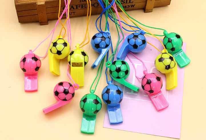 10 ピース/ロットサッカーの試合を応援サッカープラスチックホイッスル子供のため子供のおもちゃロープパーティーメイクノイズ小道具 LYQ