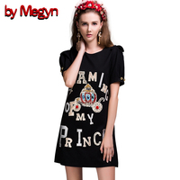 2019 Fall Designer Brand Runway Dress Women Puff Sleeve Casual Loose Straight Crystal Letter Dress Vestidos black embroidery