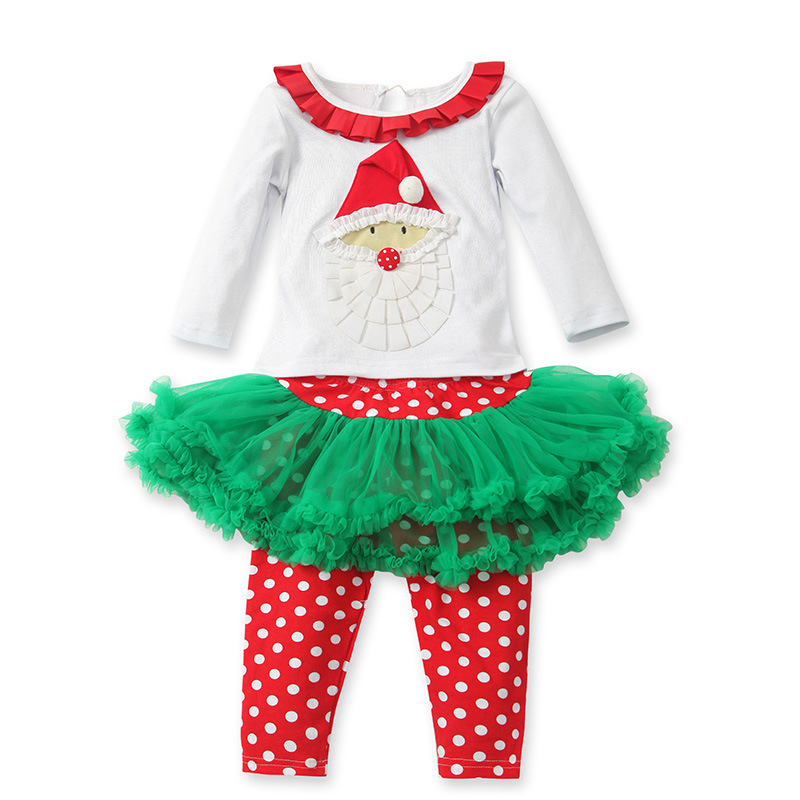 fbadadd30a89 Girls Christmas clothing sets Santa Claus t shirt + Culottes 2pcs baby girl  long sleeve xmas t shirts and skirts suit set retail-in Clothing Sets from  ...