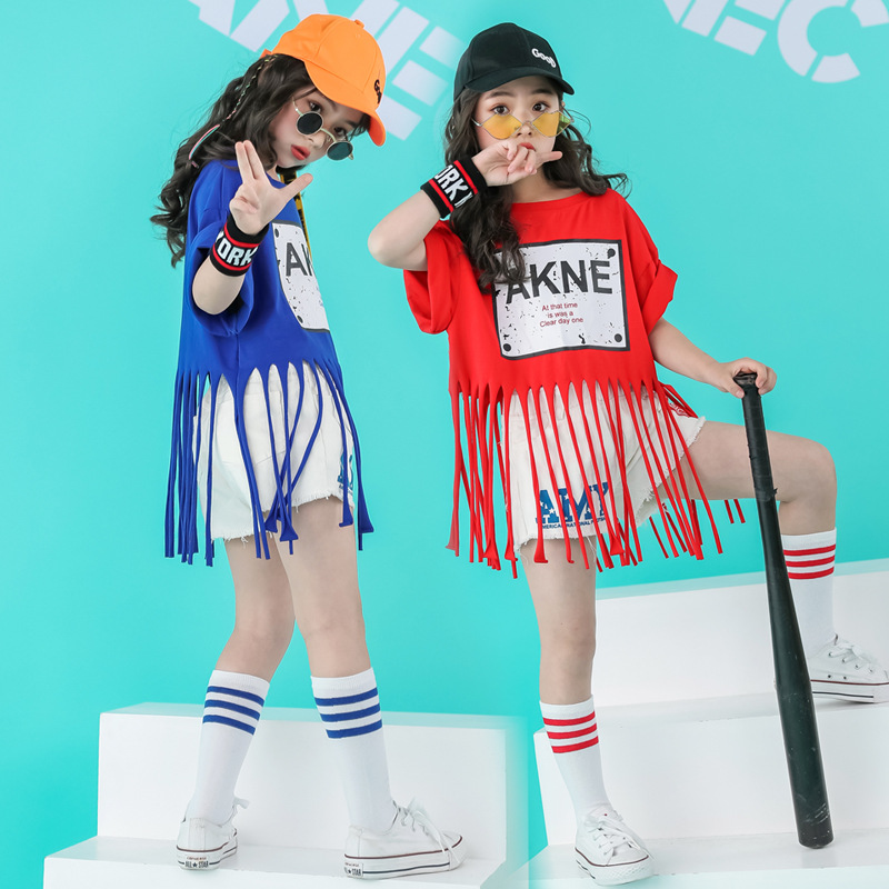 Children Hip Hop Clothing Fringe T Shirt Tops Casual Jeans Shorts For Girls Kid Jazz Dance Costume Ballroom Dancing Clothes Wear