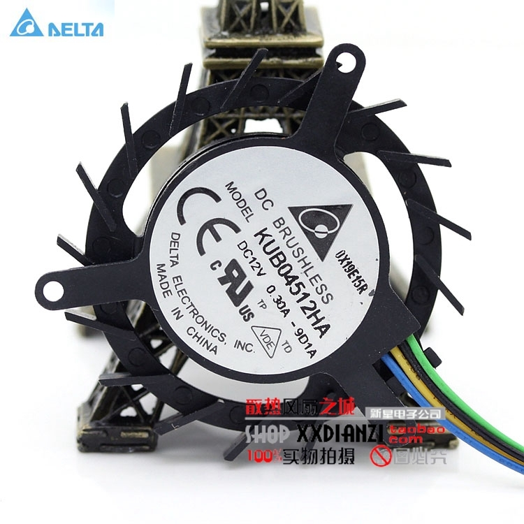Delta KUB04512HA 4510 4 wire PWM speed control 12V 0.3A small turbo graphics card fan