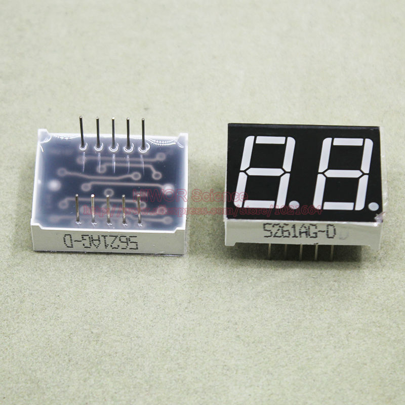 (10pcs/lot) 10 Pins 5621AG 0.56 Inch 2 Digits Bits 7 Segment Green LED Display Common Cathode Digital Display