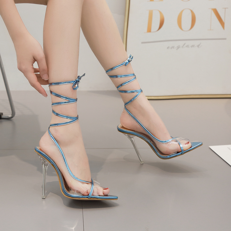gladiator sandals Woman shoes lace up high heels slides Transparent peep toe shoes cross strap clear pumps zapatos mujer silvergladiator sandals Woman shoes lace up high heels slides Transparent peep toe shoes cross strap clear pumps zapatos mujer silver