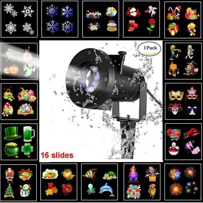 Snowflake Star Projector Atmosphere Lighting Outdoor Garden Christmas Lamp Disco Bulb Garden Laser Waterproof 16 Pattern Z30 christmas hanging balls and snowflake pattern waterproof table cloth